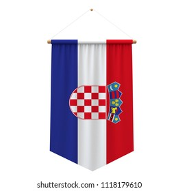 Croatia flag cloth hanging banner. 3D Rendering