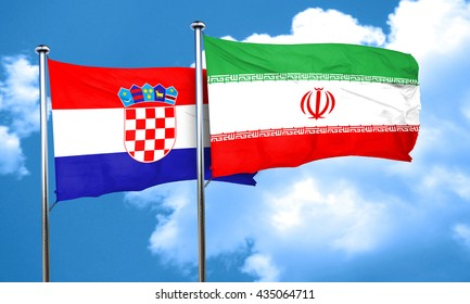 croatia flag with Iran flag, 3D rendering