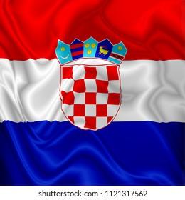 Croatia Flag Waving Digital Silk Fabric