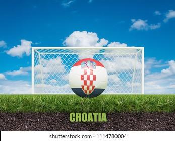 Croatia football  on football or soccer field ,3d rendering