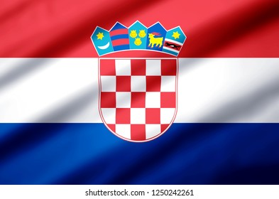 Croatia modern and realistic closeup 3D flag illustration. Perfect for background or texture purposes.
