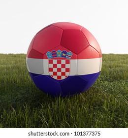 croatia soccer ball isolated on grass