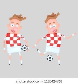 Croatia  soccer player . 3d illustration
