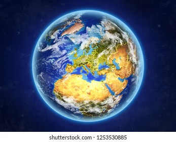 Croatia from space. Planet Earth with country borders and extremely high detail of planet surface and clouds. 3D illustration. Elements of this image furnished by NASA.