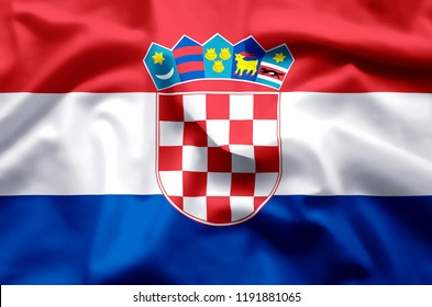 Croatia stylish waving and closeup flag illustration. Perfect for background or texture purposes.