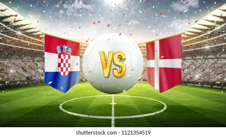 Croatia vs Denmark. Soccer concept. White soccer ball with the flag in the stadium, 2018. 3d render