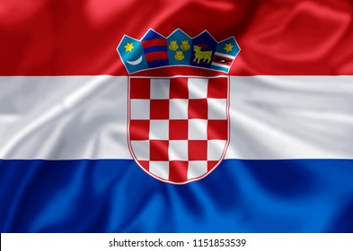 Croatia waving and closeup flag illustration. Perfect for background or texture purposes.