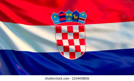Croatia. Waving flag of Croatia. 3d illustration