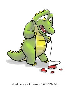 A crocodile cries over a popped balloon.