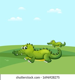 crocodile  in the garden cartoon illustration