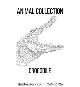 Crocodile head geometric lines silhouette isolated on white background vintage design element illustration