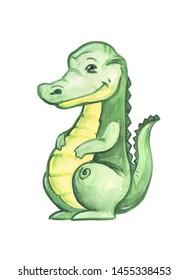 crocodile kid children's illustration watercolor drawing