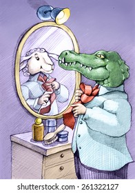 a crocodile while knotting his tie looks in the mirror and sees himself as a mild sheep