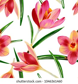 Crocus flowers seamless pattern. Watercolor Illustration. Spring background.