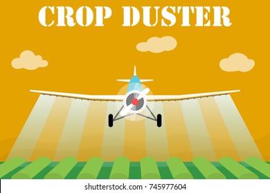 Crop duster airplane spraying a farm field.