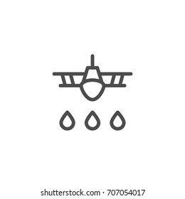 Crop duster line icon isolated on white