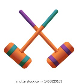 Croquet crossed mallet icon. Cartoon of croquet crossed mallet icon for web design isolated on white background