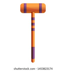 Croquet mallet icon. Cartoon of croquet mallet icon for web design isolated on white background