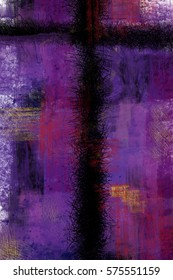 Cross - abstract artistic modern background digital painting illustration for Lent season and Passion, in purple and red tones.