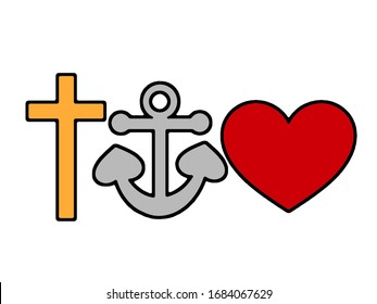 Cross, Anchor, and Heart representing Faith, Hope and Love