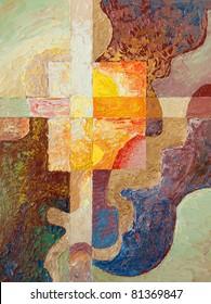 The cross. Artwork by Alex Tsuper. Oil on canvas, 30 x 40 cm.