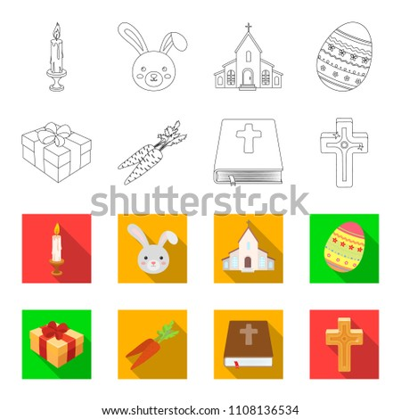 Cross Bible Gift Carrots Easter Set Collection Stock Illustration