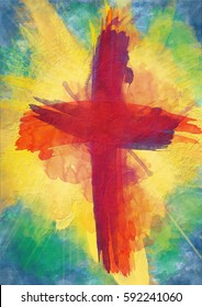 cross of bloody red on bursting light rays. abstract artistic Lent or Easter christian religious background