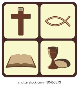 Cross, christian fish symbol, open Bible and bread with wine.