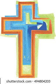 Cross, christian symbol. Artistic abstract watercolor style colorful modern illustration.