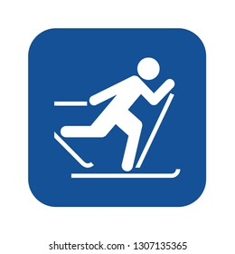 Cross country skiing symbol icon