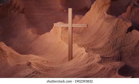 Cross in the desert canyon land, 3d rendering Christian religious illustration