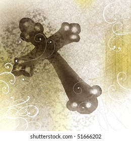 cross design with watercolor background and fanciful scrollwork