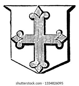 Cross Flory are more used as a charge in a coat of arms, vintage line drawing or engraving illustration.