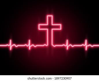 Cross of God ,Lord Jesus Christ. Heartbeat line icon. Heart rhythm.ECG. Cardiogram.Faith.Christian banner design.Red pink neon light effect on black background.Health.Normal cardio .Church. Wallpaper.