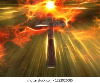 Cross hangs in sky. Shining light. 3D rendering