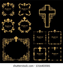 Cross icons set. Obituary notice - art deco frames with cross. Collection of gold Christian Symbol design elements isolated on black background. Church and pray, religion and resurrection.