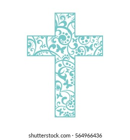 Cross isolated on White background. Christian Symbol.  Illustration