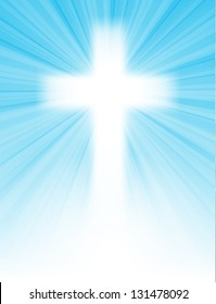 cross on blue sky, with sun rays and blue sky, with text, easter greeting card, bitmap copy