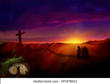 Cross on a hill at dawn, with empty tomb in a garden. Dark abstract artistic watercolor style illustration of Calvary hill on Easter morning.