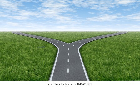 Cross roads horizon with grass and blue sky showing a  fork in the road  representing the concept of a strategic dilemma choosing the right direction to go when facing two equal or similar options.
