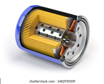Cross section of car oil filter isolated on white background. 3d illustration