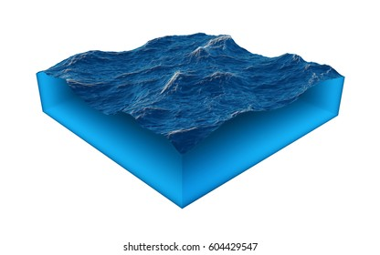 Cross section of clean ocean water isolated on white background. 3D render illustration.