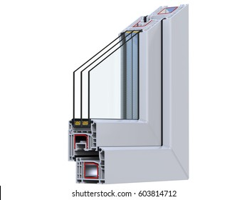 Cross section through a window  pane PVC profile. 3D render, isolated on white background.