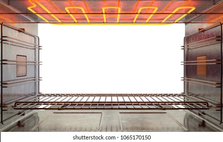 A cross section upclose view from inside an empty hot operational household oven looking out the open door - 3D render