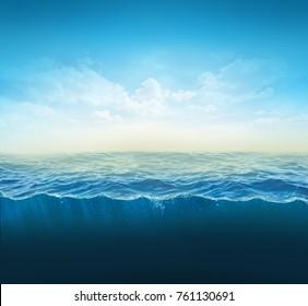 cross section water, ocean slice, water column. 3d illustration