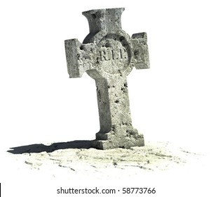 cross shaped gravestone on the white background with rip sign on it