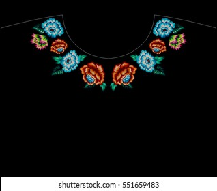 cross stitch floral embroidery for neckline with roses and folk flowers. vibrant x thread sewing. symmetrical design.