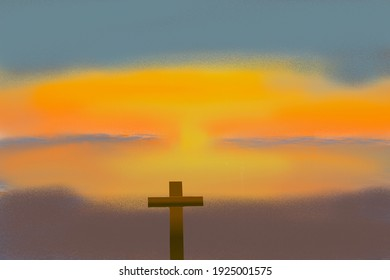 The cross and the sunset evening, illustration