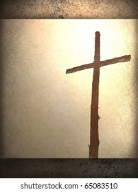 cross symbol on soft parchment and grunge brown background