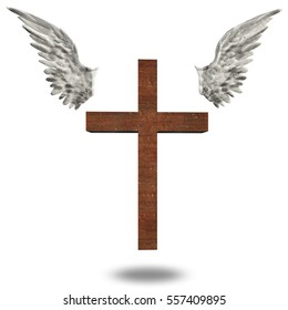 Cross With Wings 3D Render